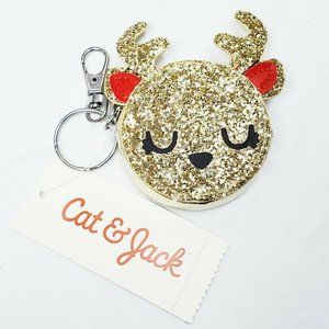 🏖 Cat & Jack Reindeer Coin Purse Keychain Gold